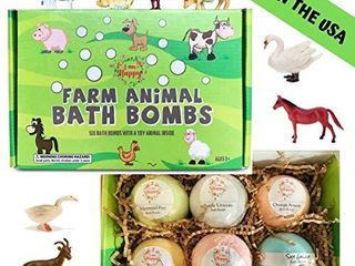 Kids Bath Bombs with Surprise Inside  Farm Animal Toys  6 Xl lush Bath Fizzies  Great Brithday or Christmas Bath Bombs Gift Set for Boys and Girls  learning Toys for 3 4 5 6 7 8 year old Kids