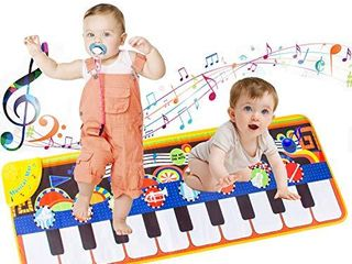 lROTBESY Toys for 1 Year Old Girls Boys  Baby Musical Mats Toy with 19 Keys Piano Keyboard Playmat Play Game Dance Blanket Carpet Mat Educational Toys Children Christmas Birthday Gift