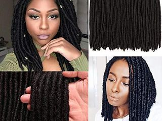 7 Packs Dreadlocs Faux locs Hair Extensions 14 Inch Black Straight Goddess locs Synthetic Crochet Hair Soft Crochet Braids  14 Inch  1B