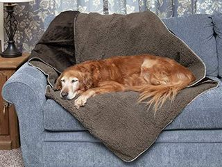 Furhaven Pet Dog Bed Blanket   Snuggly and Warm Faux lambswool and Terry 100  Waterproof Insulated Thermal Self Warming Pet Bed Throw Blanket for Dogs and Cats  Espresso  Medium