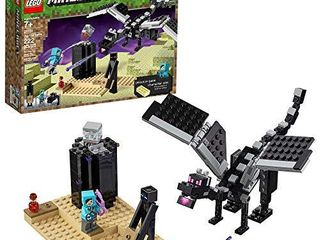 lEGO Minecraft The End Battle 21151 Ender Dragon Building Kit includes Dragon Slayer and Enderman Toy Figures for Dragon Fighting Adventures  222 Pieces