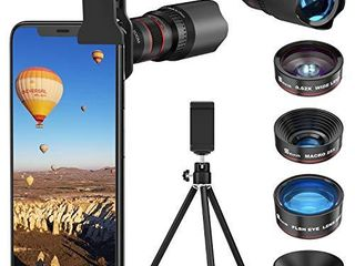 Selvim Phone Camera lens Phone lens Kit 4 in 1  22X Telephoto lens  235A Fisheye lens  0 62X Wide Angle lens  25X Macro lens  Compatible with iOS iPhone 10 8 7 6 6s Plus X XS XR Android Samsung  Black
