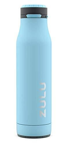 ZUlU Ace Vacuum Insulated Stainless Steel Water Bottle with Removable Base   leak Proof lid   Antimicrobial Spout  24 oz  Ice Blue
