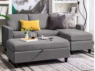 Honbay Couch With Chaise Dark Grey