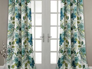 Floral Paisley Room Darkening Window Curtain Blue Set