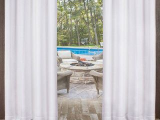 Set of 2 96x54 Indoor Outdoor Textured Sheer Grommet Top Window Curtain Panel White   Exclusive Home