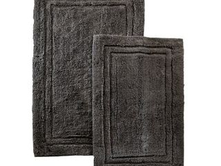 Miranda Haus luxurious Combed Cotton Non skid Bath Rug Set  Set of 2