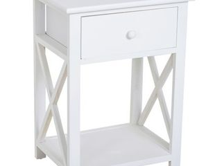 HomCom X Side Wood End Table Nightstand with Drawer