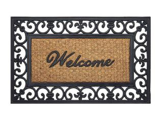Achim Wrought Iron Rubber Doormat Fleur De lis   Beige Black