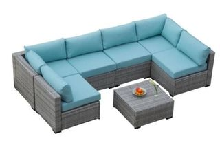 Grey Rattan Sofa Set Corner Piece With 4 Seats And Ottoman  Interchangeable  Make Up Your Own Design How You See Fit