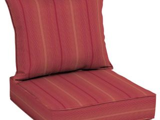 Arden Selections Acrylic Coral Red Stripe Outdoor Deep Seat Cushion Set   Retail 112 09