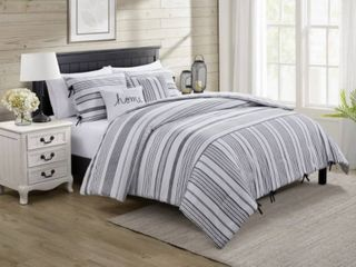 VCNY Home Farmhouse Reversible Stripe Comforter Set  King Bedding