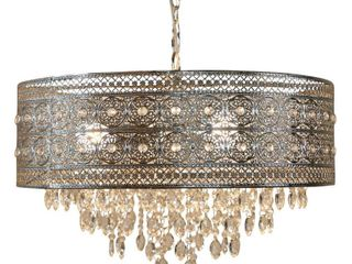 River of Goods Monroe Crystal and Polished Nickel 24W 3 light Chandelier