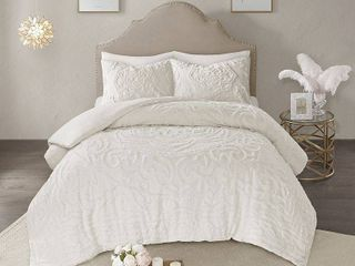 Ivory King Cal King Madison Park Virginia Tufted Cotton Chenille Medallion Duvet Cover Set Retail  111 07