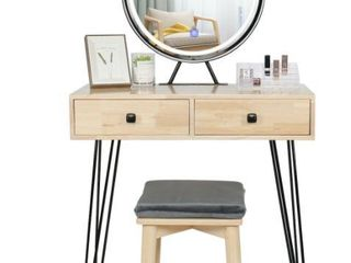 Natural Wood And Black light Up lED Mirror With Stool