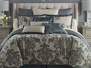 Waterford Everett Reversible Comforter  Sham  amp  Bed Skirt Set  Size Queen   Blue