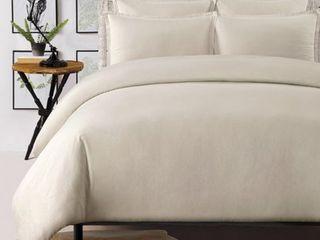 Echelon Home Washed linen Cotton Blend Duvet Cover Set Taupe King