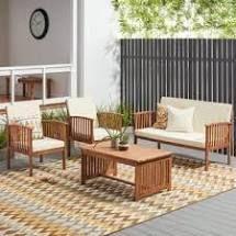 Carolina Acacia 4 piece Outdoor Sofa Set by Christopher Knight Home