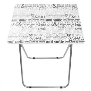 Home Basics Happy Black and White Multi Purpose Foldable Table
