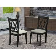 Clarksville Black Double X back Chairs with linen Fabric  Set of 2  Retail 164 16