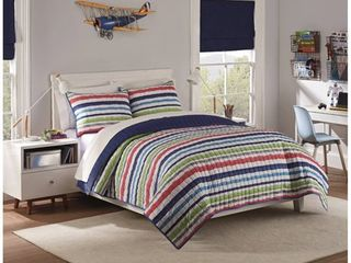 2pc Twin Froot loops Striped Quilt Set Navy   Waverly Kids