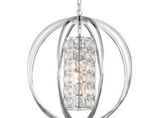 Chrome 3 light Globe Orb Chandelier with Crystal lined Cylinder  Retail 199 99 crome