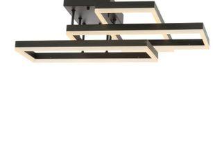 Turing 28  Geometric Integrated lED Metal Flush Mount  Black by JONATHAN Y  Retail 305 49