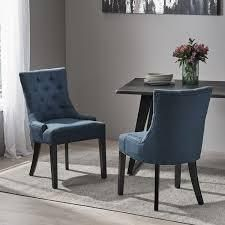 Hayden Contemporary Tufted Fabric Dining Chairs set of 2 by Christopher Knight Home navy blue