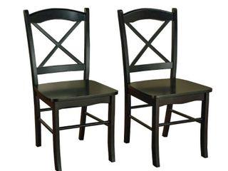 Set of 2 Tiffany Cross Back Chair Black   Buylateral