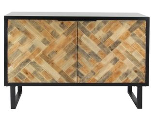 Decmode Modern Wood and Iron Weave Style Cabinet  Black