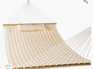 lazy Daze Hammocks 55 in Double Quilted Fabric Hammock Swing with Pillow  Dark Cream