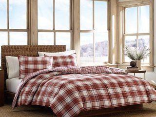 Red Edgewood Plaid Comforter Set  King    Eddie Bauer