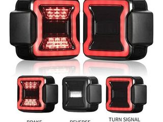 FieryRed Smoked lED Tail lights Compatible with 2018 2020 Jeep Wrangler Jl Reverse light Turn Signal lamp Running lights