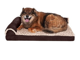 Furhaven Pet Dog Bed   Deluxe Memory Foam Two Tone Plush and Suede l Shaped Chaise lounge large