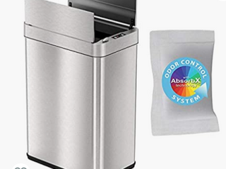 iTouchless 13 Gallon Wings Open Sensor Trash Can with AbsorbX Odor Filter  Stainless Steel