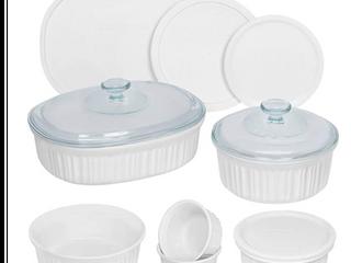 CorningWare French White Round and Oval Ceramic Bakeware  12 Piece