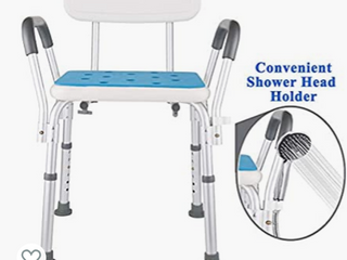 Shower Chair for Elderly with Rails   Easily Adjustable Benches  Tool Free Assembly Seat with Arms   Back for Seniors   Portable Handicap Bathtub Seats for Adults  White