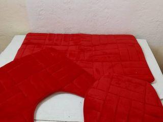 Daniels bath 3pc Memory foam bath rug  Red  20 x 32in  16 x30 in