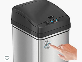 iTouchless 13 Gallon Stainless Steel Automatic Trash Can  Odor Absorbing Filter  lid lock  Sensor Kitchen Garbage Bin