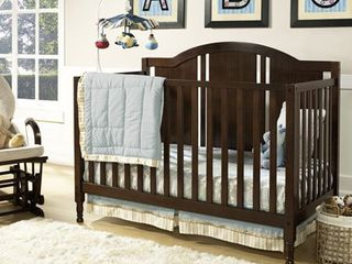 Baby Relax Kinley 4 in 1 Fixed Side Convertible Crib w Mattress  Espresso