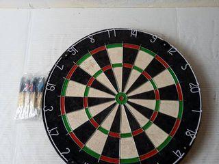 Dartboard With Staple free Bullseye  12 18g Steel Tip Darts Set small crack