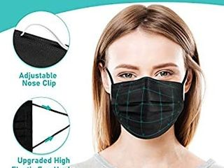 10pcs Boxed Black Face Mask Comfortable 3 layer Disposable Safety Mask   Black