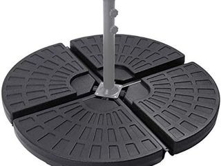 Sunnyglade 18 9  4Pcs 13l Fan Shaped Water or Sand Filled Umbrella Base Fan Style Self Filled Cantilever Offset Umbrella Base Stand Suitable for All Kinds of Cross Tiles  Black