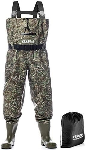 Foxelli Nylon Chest Waders a Camo Fishing Waders for Men with Boots   Use for Fly Fishing  Duck Hunting  Emergency Flooding a 100  Waterproof  Carrying Bag Included