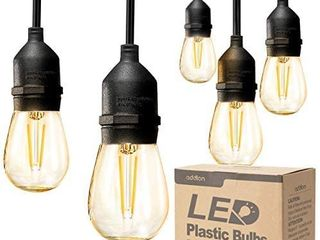 addlon lED Outdoor String lights 48FT with 2W Dimmable Edison Vintage Plastic Bulbs and Commercial Grade Weatherproof Strand   Ul listed Heavy Duty Decorative lED CafAc Patio light   Porch Market light