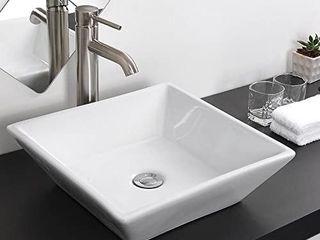 Aquaterior Square White Porcelain Ceramic Bathroom Vessel Sink Bowl Basin with Chrome Drain 16 1 7 x16 1 7 x4 1 3 H