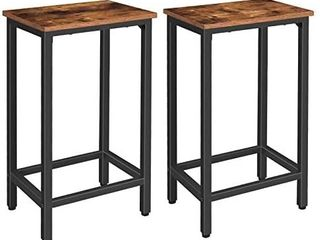 HOOBRO Bar Stools  Set of 2 Bar Chairs with Footrest  Black Steel Frame  Adjustable Feet  for living Room  Dining Room  Kitchen  Industrial Design  Rustic Brown