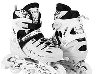 Adjustable Inline Skates Scale Sports Sizes Safe Durable Outdoor Featuring Illuminating Front Wheels