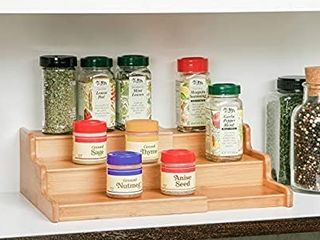 Seville Classics 3 Tier Expandable Bamboo Spice Rack Step Shelf Cabinet Organizer