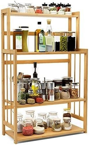 4 Tier Standing Spice Rack lITTlE TREE Kitchen Bathroom Countertop Storage Organizer  Bamboo Spice Bottle Jars Rack Holder with Adjustable Shelf  Natural Bamboo Color